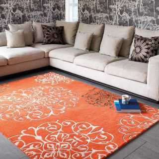 Tapis de salon baroque orange avec arabesques par Joseph Lebon 270 cm x 370 cm (sur mesure)