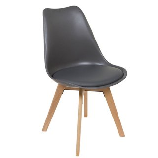 Chaise Grise En Polypropylne Style Scandinave Assise Simili Cuir