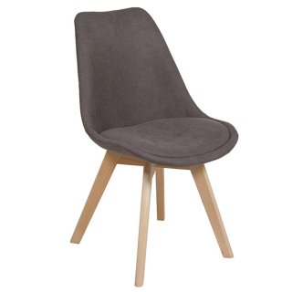 Chaise design Scandinave en velour taupe